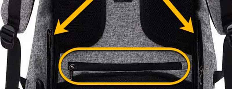 Bolsillos ocultos en las mochilas antirrobo