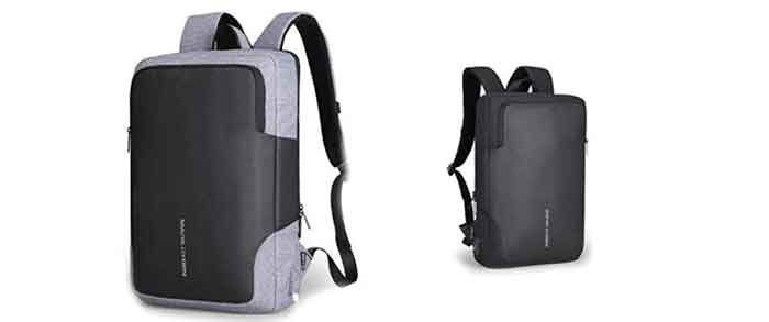 Dos combinaciones de color posibles, negro-negro o negro-gris para la mochila antirrobo Mark Ryden NOX
